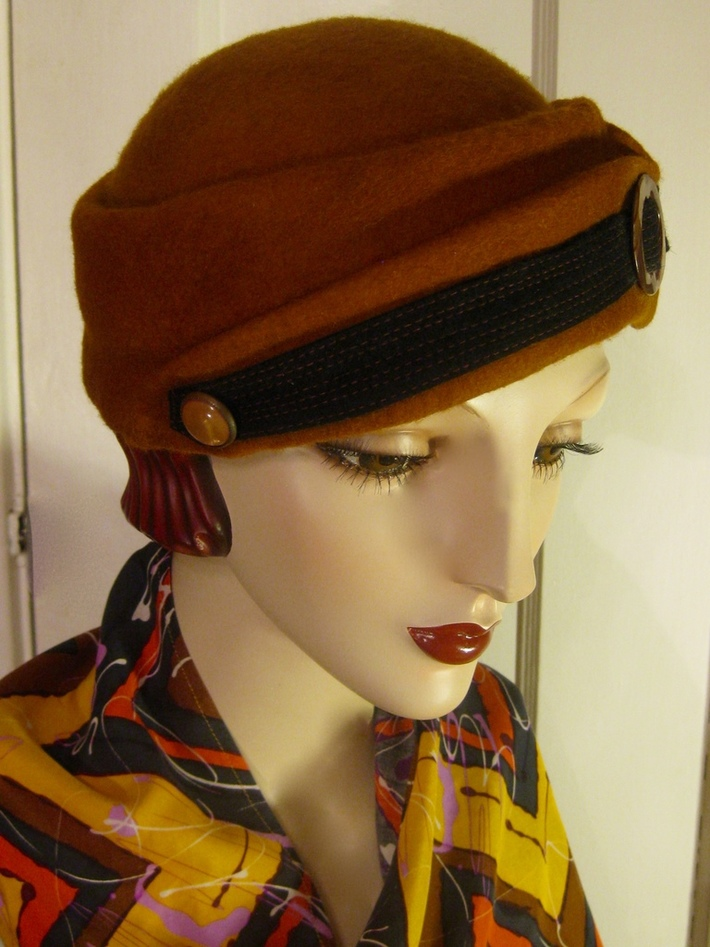 1930's Toque with Vintage Buckle/ Ochre   (side view)