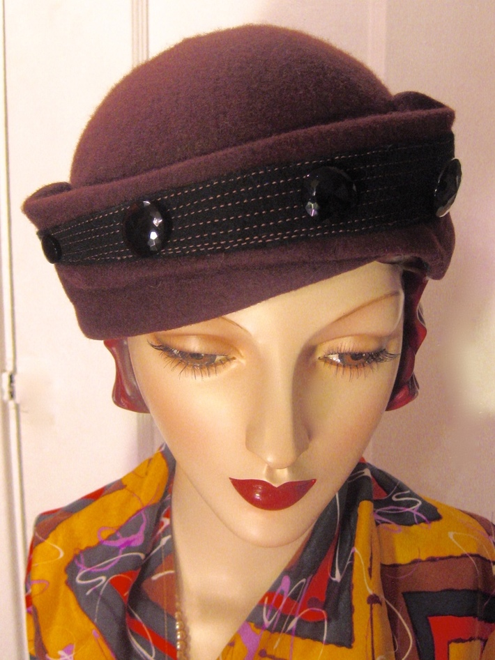 1930's Toque with Jet Buttons