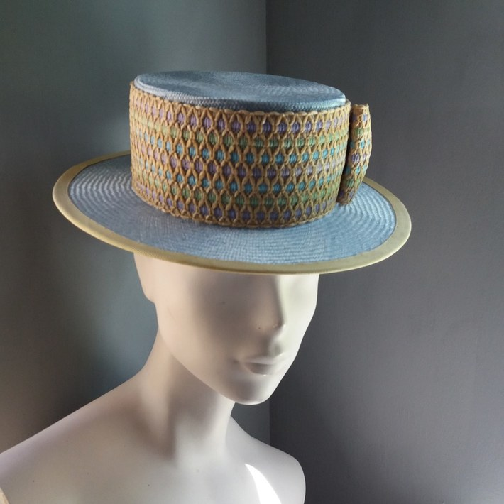 Boater in pale blue and straw