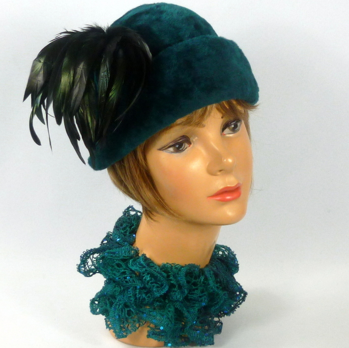 Deep Teal Fur Felt Cloche Hat -Vintage Rabbit Fur Hood - Coque Feathers