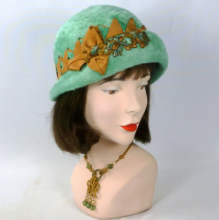 Mint and Gold Fur Felt Cloche Hat - Vintage Hood from Austria