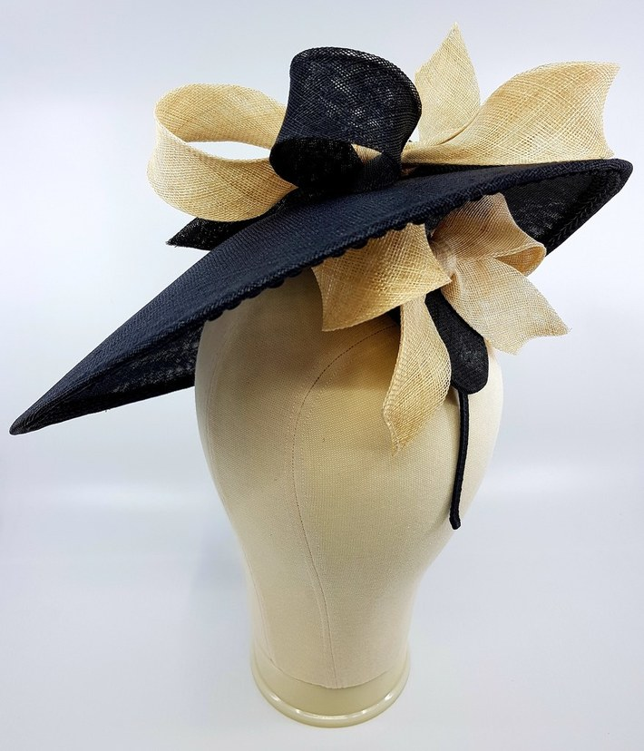 Black sinamay coolie with black and beige bows