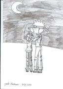 Naruto & Hinata kissing in the moonlight