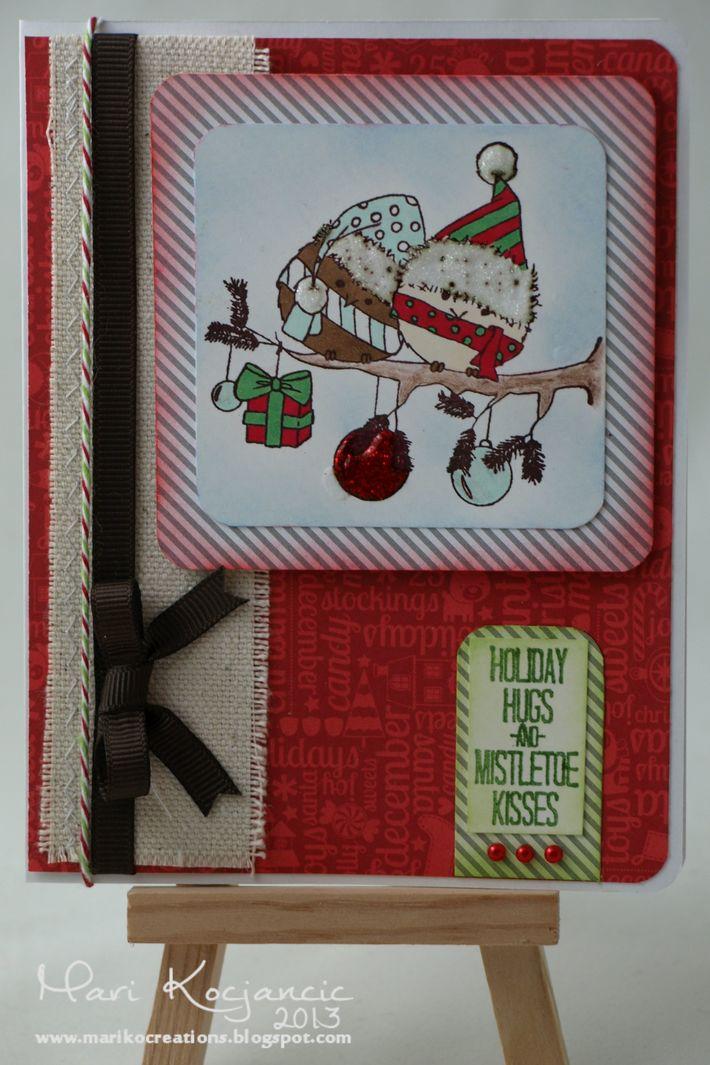 Birdies, Hugs and Mistletoe Card