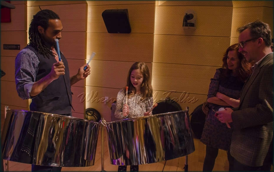 """Khuent Rose shares the music of the steelpan with interested attendees - from: """"Randy Weston presents Symposium in the Drum - From Africa to the New World"""""""