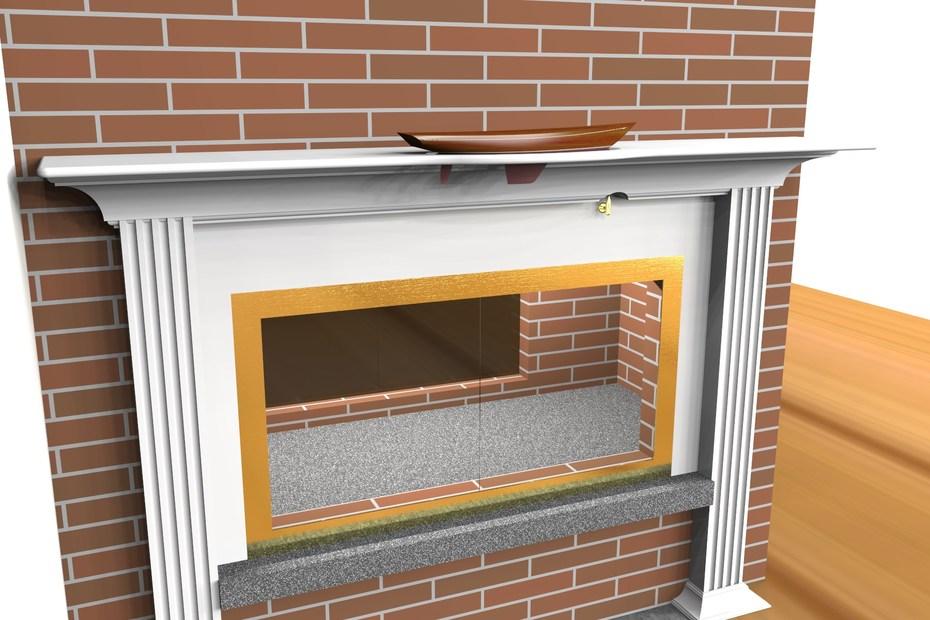 model in fireplace mantel