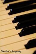 piano between blue lights