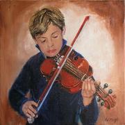 le petit violoniste huile 40 x 40