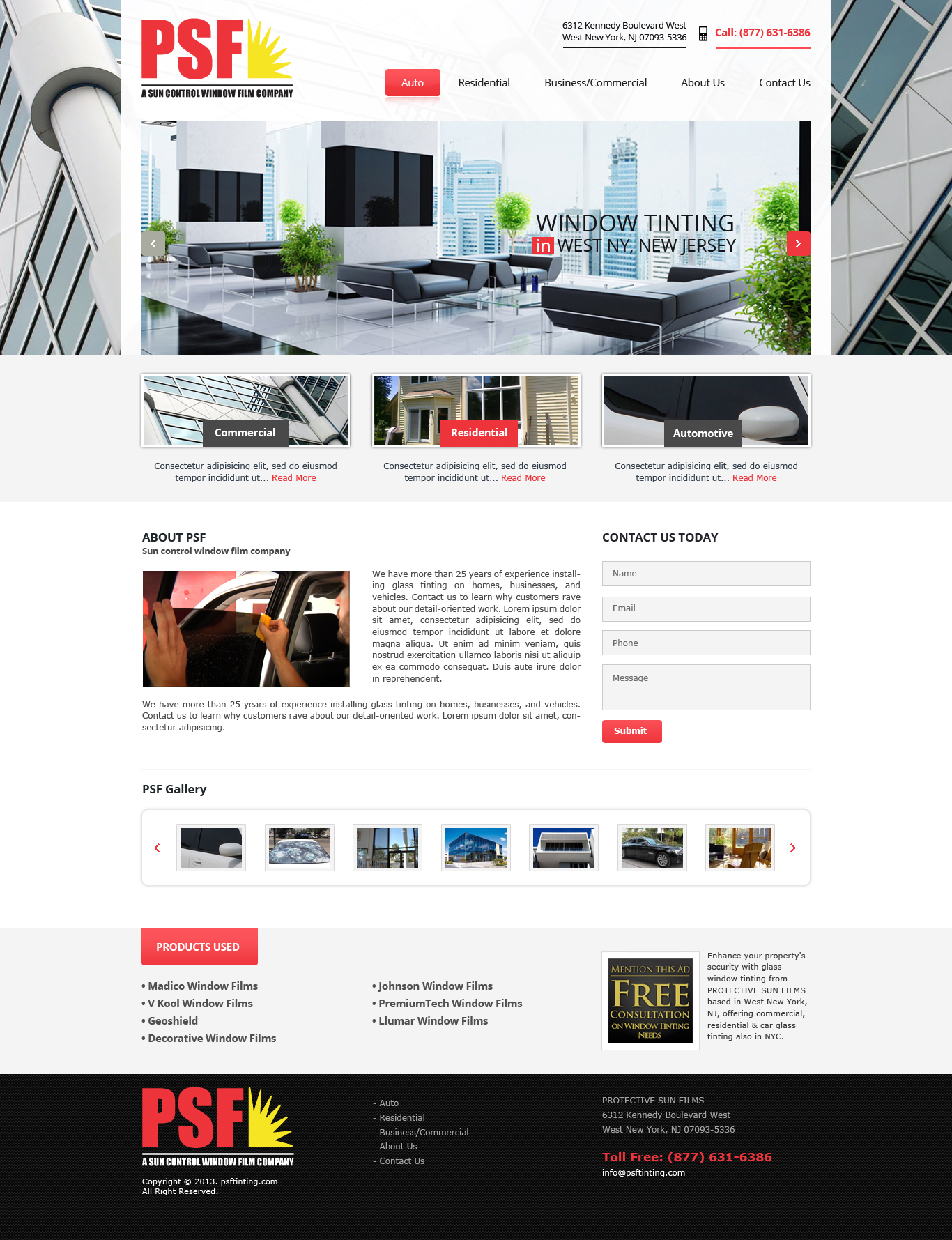 PSF Tinting's Homepage