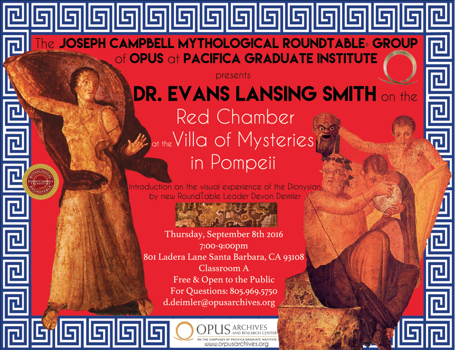 Dr. Evans Lansing Smith and RoundTable Leader Devon Deimler on the Red Chamber at the Villa of Mysteries in Pompeii