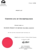 MKP-BC Society Incorporation Certificate