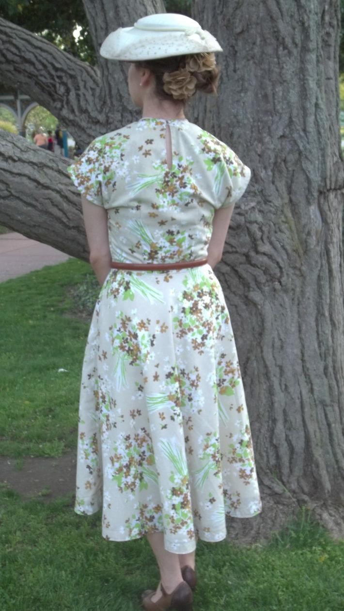 1940 Floral Bed Sheet Swing Dress - back