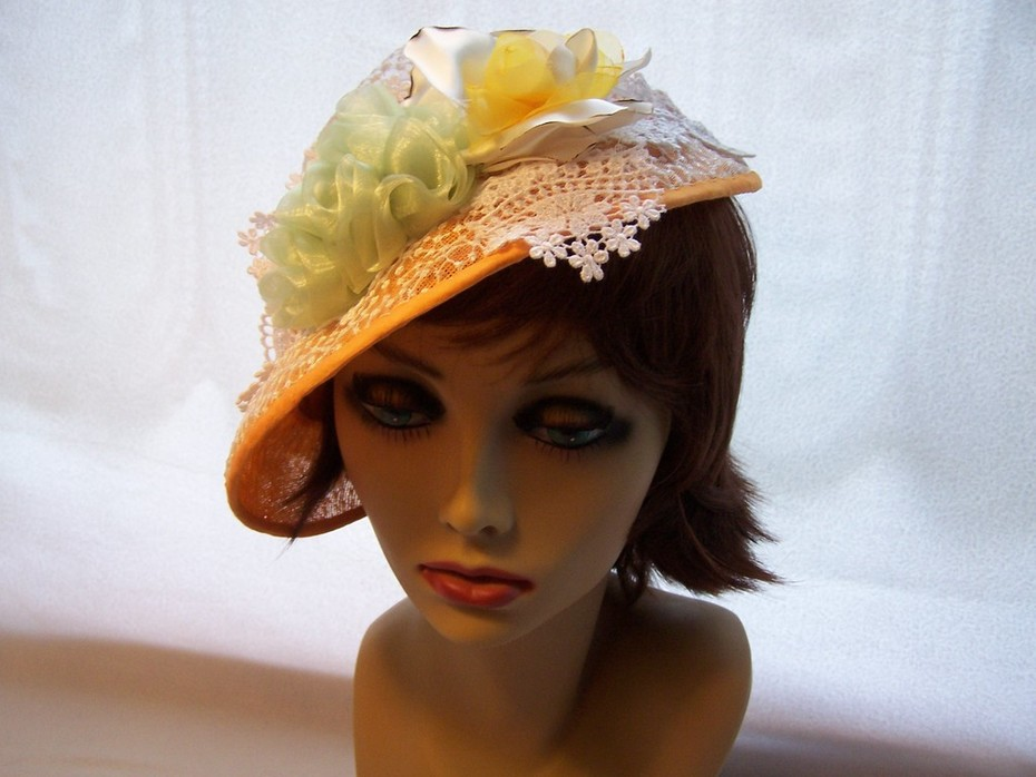 Orange Lace Derby Hat