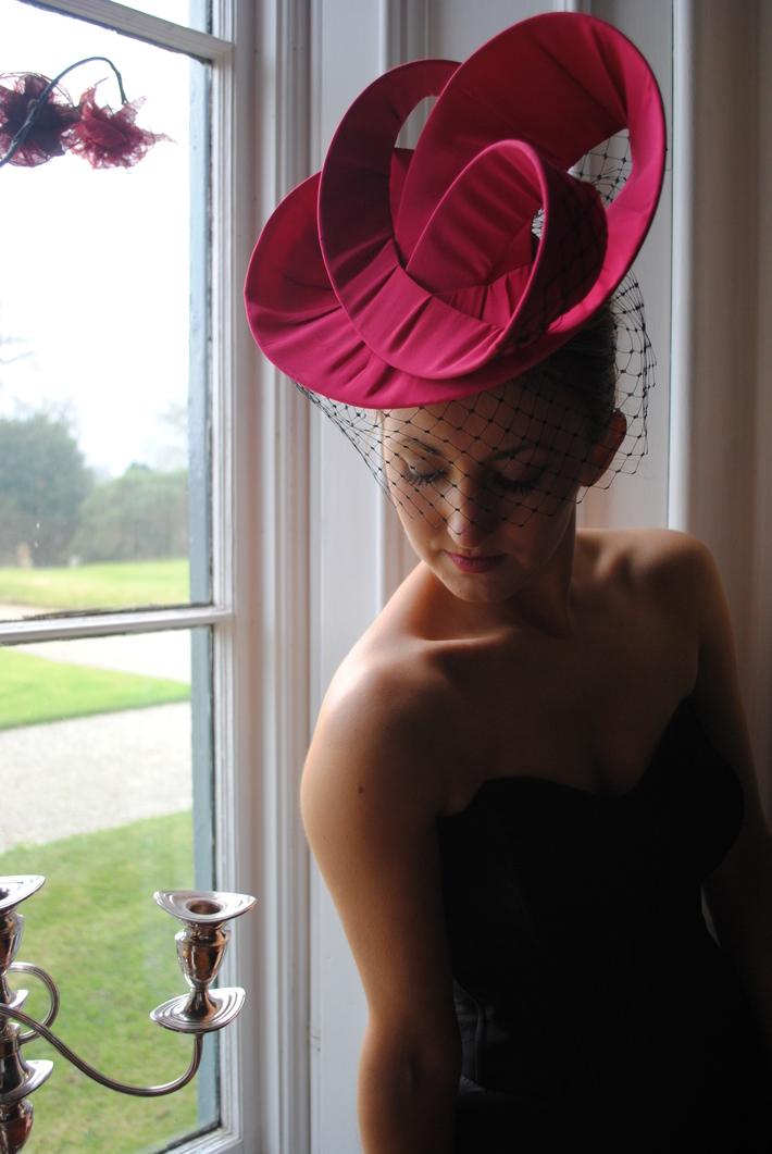 Scultural Pink Silk Hat