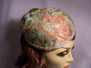 Blue and Pink Floral brimless Hat with Bow