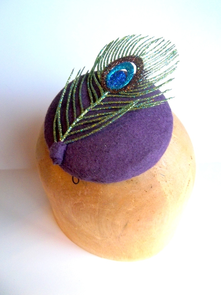 Sparkly Miss Peacock Button Cocktail Hat