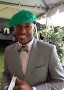Tonya Gross Millinery Damian linen driving cap on Kurt at Kentucky Derby