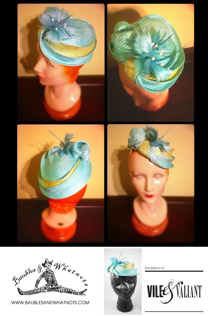 Aqua & Gold Parasisal Woman's Hat