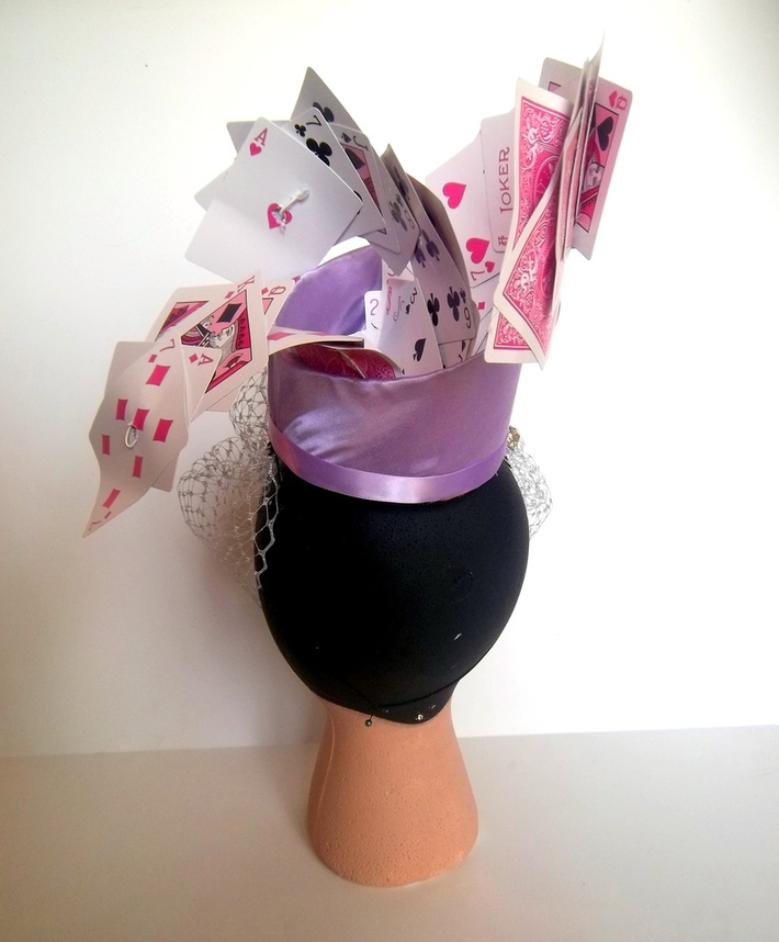 Mad Hatter Tea Cup Spilling A Deck Of Cards