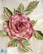 Hand painted pure silk rose brooch for a bridal sash