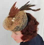 Vintage-Style Abstract Bird's Nest Tilt Hat