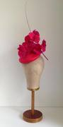 Fuschia & Raspberry Straw Button with Handpainted Orchids& Single Quill by Murley & Co Millinery