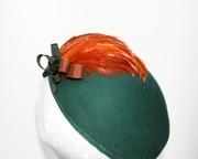 Hunter Green Women Beret Hat Millinery Bespoke