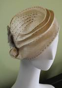 Cream Parasisal Straw with Gray Top-Stitching, Gray Feathers & Victorian Button