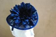 dark navy blue fascinator hat for women