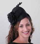 black cocktail hat