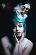 Golden Skull Teal Percher Cocktail Hat Lace Headpiece