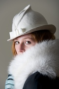 White Fur Felt Women Bridal Hat