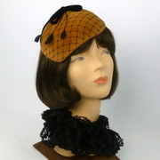 Rust & Black Velour Felt Fascinator Hat