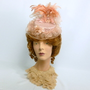Reproduction Victorian Traveling Hat - Peachy Pink