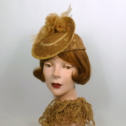Natural Straw & Brown Lace Fascinator Hat