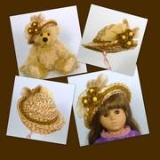 Doll or Teddy Bear Straw Hat - Hand Made