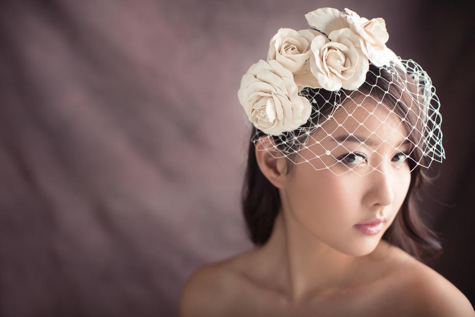 Leather roses on headband