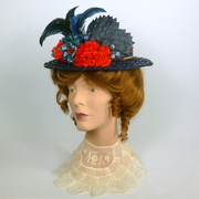 Reproduction Late 1800s to Early 1900s Straw Boater in Dark Blue and Red