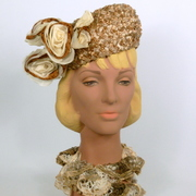 Beige Woven Straw Pillbox Hat