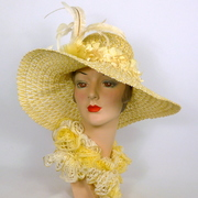 Yellow and White Straw Wide Brim Picture Sun Hat