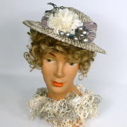 Grey (with a touch of lavender) & White Strawbraid Fascinator Hat