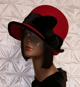 1920's  inspired Red and Black Felt Cloche