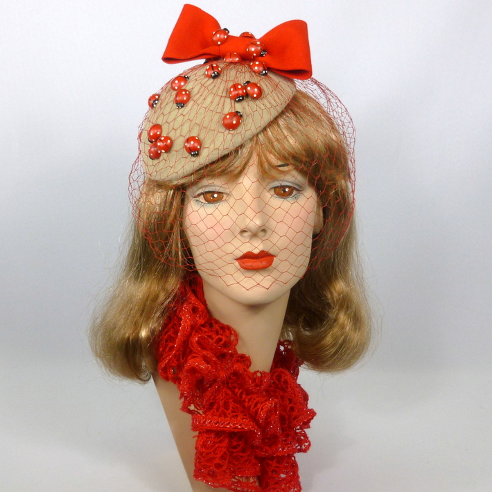 Beige and Red Felt Button Fascinator - Vintage Wooden Lady Bugs