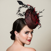 Red and Black Sinamay Percher Hat with Feather Trims