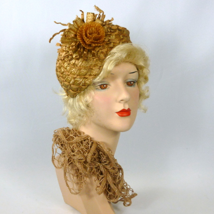 Antique Gold Color Fascinator Hat