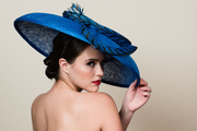 Royal Blue Saucer Hat with Pheasant Feathers