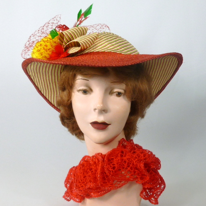 Red Straw & Stripes Picture Sun Hat