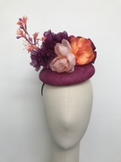 Sinamay hat with pink silk flowers
