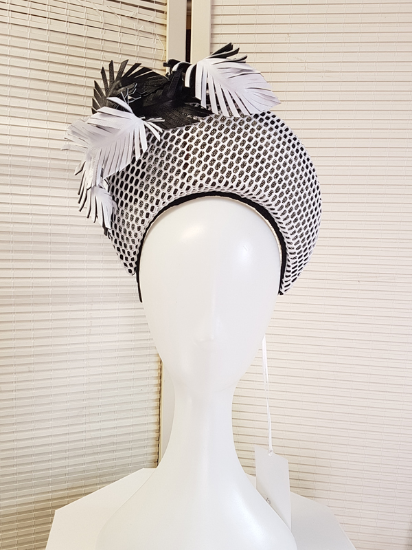 Black and White Crown with leather feathers