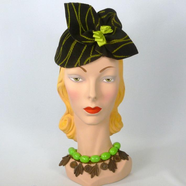 Patterned Brown & Chartreuse Velour Felt Fascinator Hat